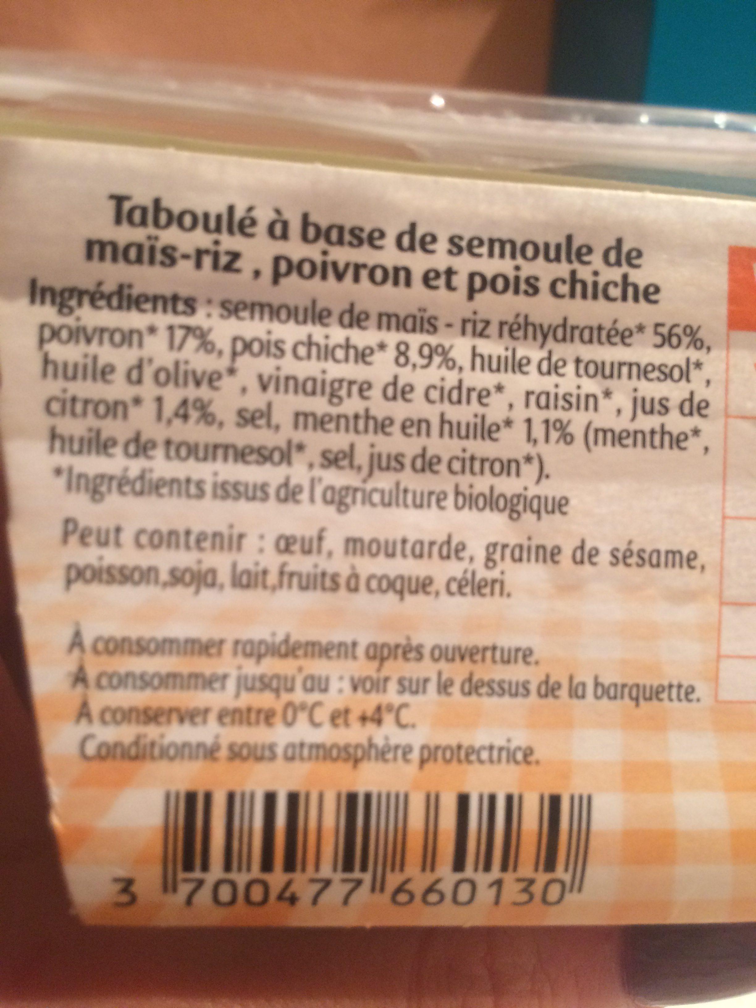 Salade repas taboulé doré semoule maïs riz - Ingredients