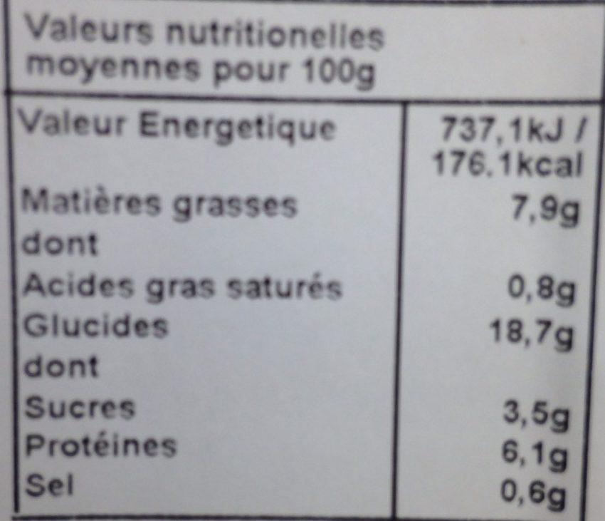 Nems aux crevettes Jardin Biologique - Nutrition facts