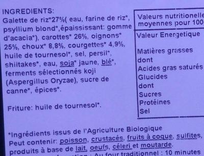 Nems aux légumes - Ingrediënten