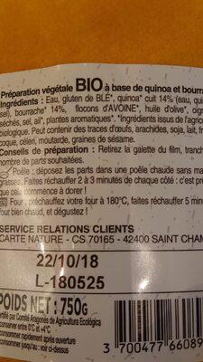 Galette végétale quinoa bourrache - Ingrediënten