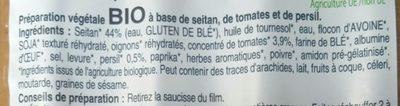 Saucisses de seitan tomates & persil - Ingrediënten