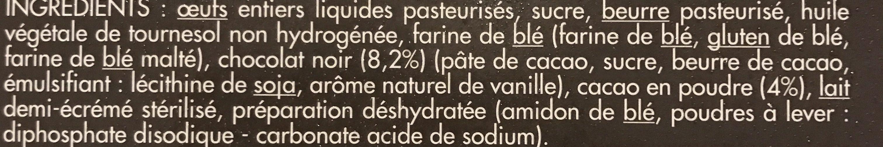 Toupargel Moelleux au Cœur Chocolat Fondant 2 x 100 g Surgelé - Ingrediënten