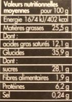 Toupargel Moelleux au Cœur Chocolat Fondant 2 x 100 g Surgelé - Voedigswaarden