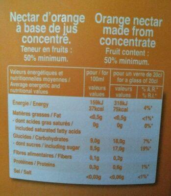 Orange nectar - Voedigswaarden