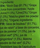 Sève de bouleau au matcha - Ingrediënten - fr