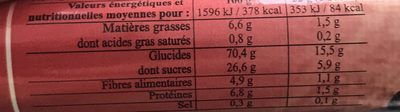 Barre muesli fruit rouge - Nutrition facts