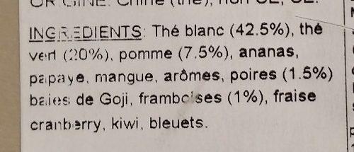 Au Gré du Vent - Thé Blanc Aromatisé Pomme, Poire, Framboise - Ingrédients
