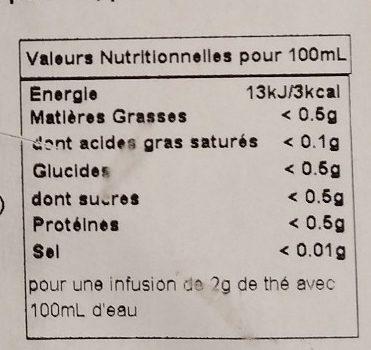 Au Gré du Vent - Thé Blanc Aromatisé Pomme, Poire, Framboise - Informations nutritionnelles