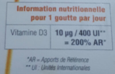 Vitamine D3++ Huile - Informations nutritionnelles