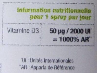 Vitamine D3 végétale en spray - Informations nutritionnelles