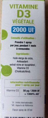 Vitamine D3 végétale - Nutrition facts - fr
