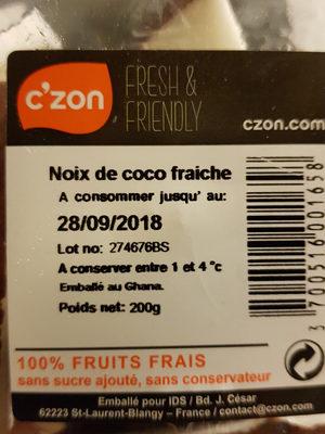 Noix de coco Czon, barquette - Voedigswaarden