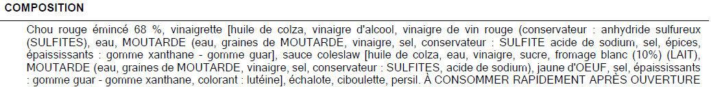 Chou rouge assaisonné - Ingredienti - fr