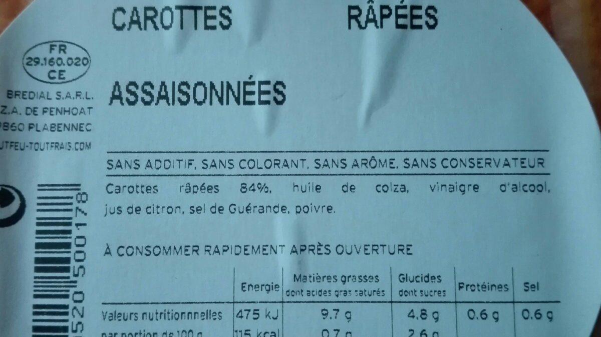 Carottes râpées assaisonnées - Ingredienti - fr