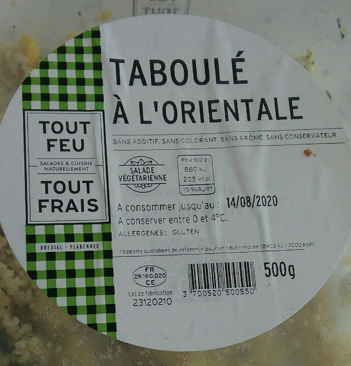 Taboule a l'orientale BREDIAL - Informations nutritionnelles - fr