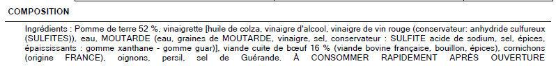 Salade du boucher - Ingredients - fr