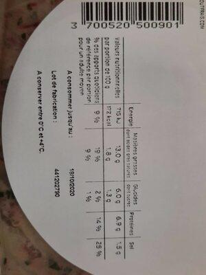 Salade du boucher - Nutrition facts - fr