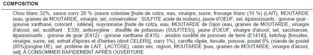 SALADE A L'INDIENNE - Ingredients - fr