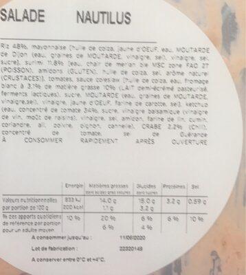 Salade Nautilus BREDIAL - Valori nutrizionali - fr
