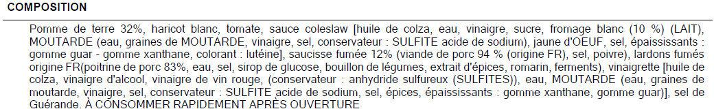 Salade du Dolmen - Ingrédients