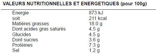 Salade à la comtoise - Informations nutritionnelles
