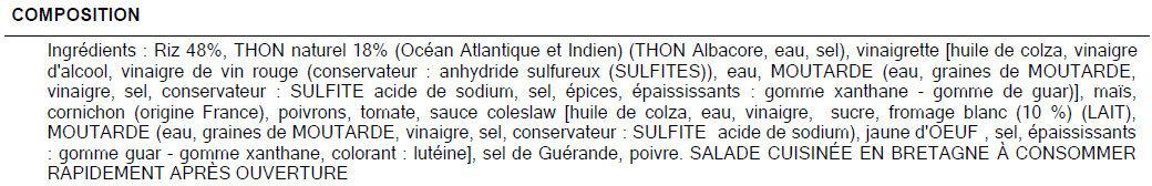 Riz niçois au thon - Ingredients - fr