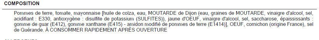 Salade piemontaise - Ingredients - fr