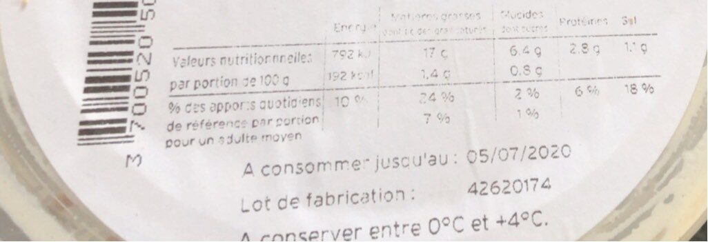 Salade piemontaise - Nutrition facts - fr