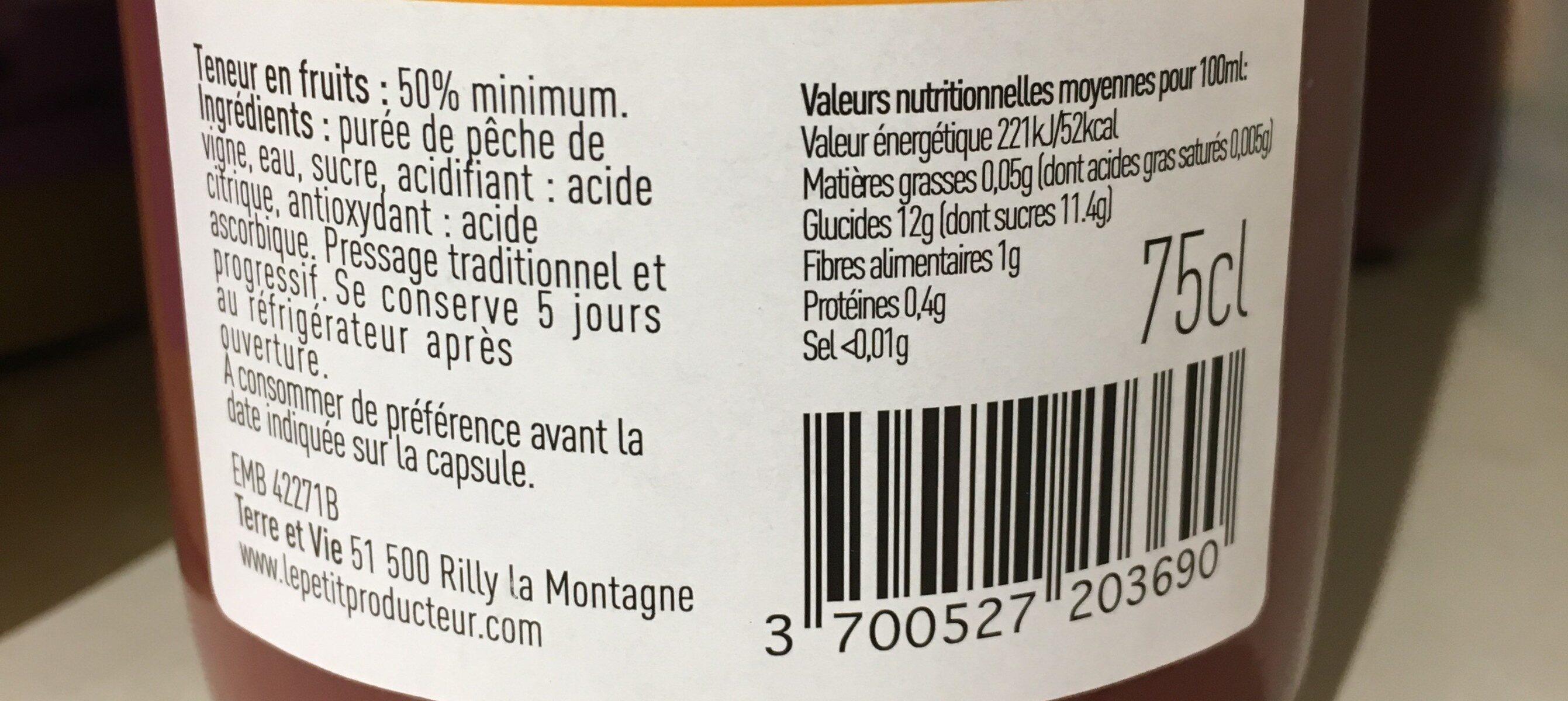 Nectar de pêche de vigne - Valori nutrizionali - fr
