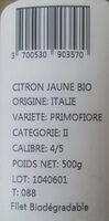 Citrons jaunes bio - Ingrediënten - fr