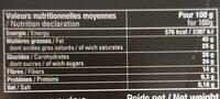 Chocolat noir éclats d'amandes - Nutrition facts