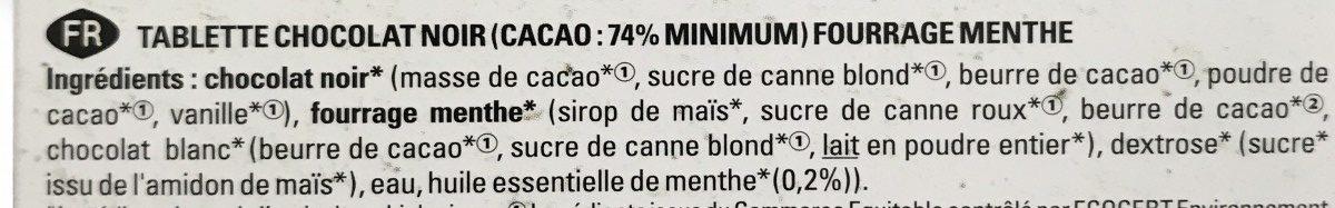 Chocolat noir menthe poivrée - Ingrédients