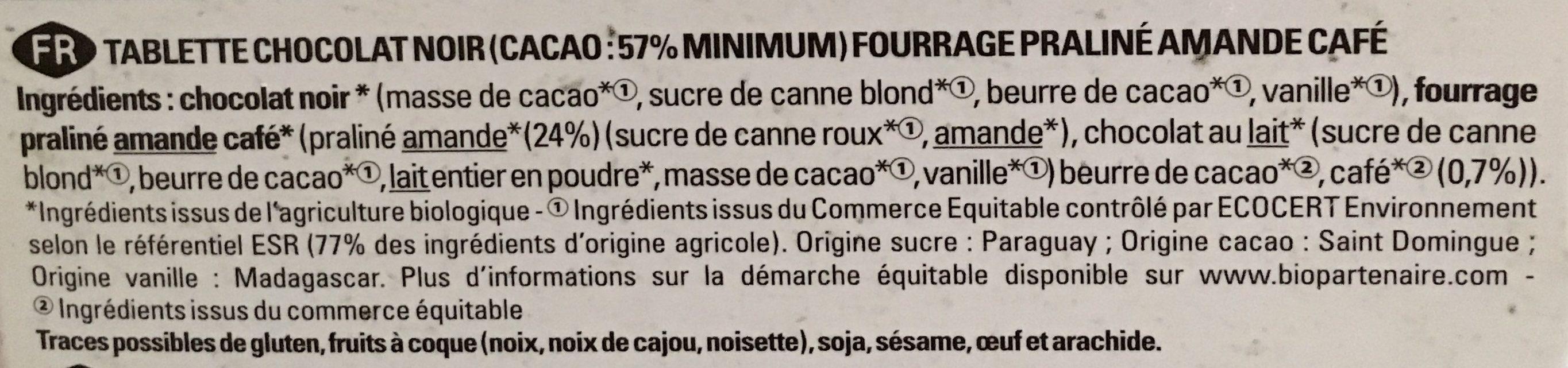 Noir praliné amande café - Ingrediënten - fr