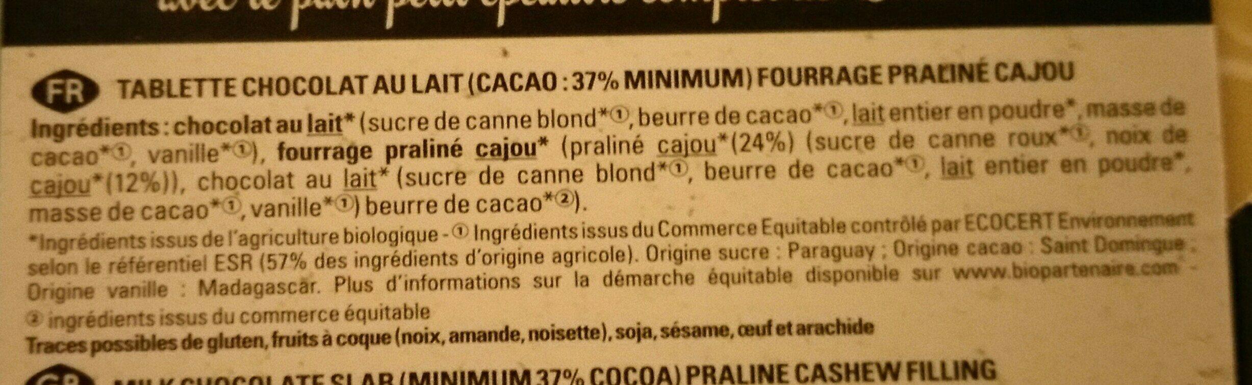 Lait praliné cajou - Ingrediënten