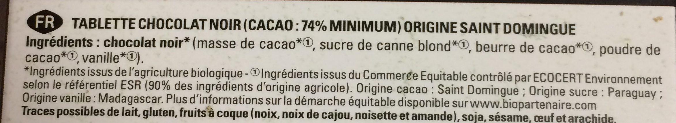 ST-DOMINGUE noir 74% - Ingrédients - fr
