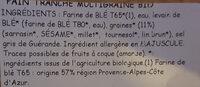 Pain Tranche Multigraine - Ingrédients - fr