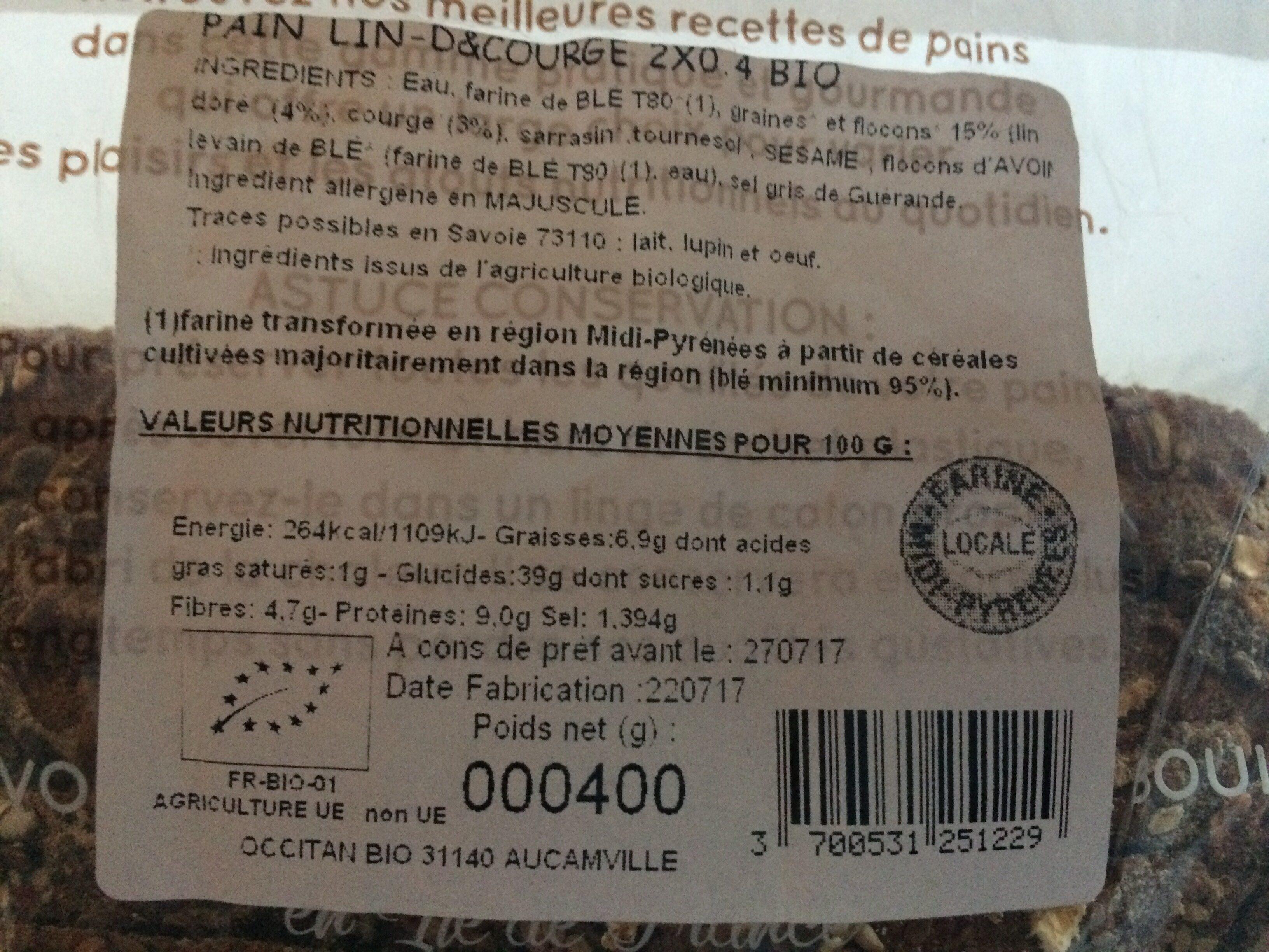 PAIN DEMI COMPLET T80 LIN ET COURGE - Ingrediënten - fr