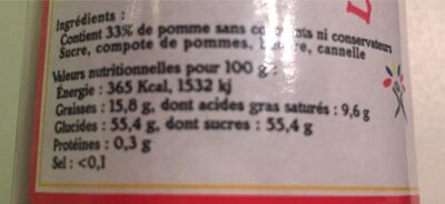 Le caramel de pommes dieppois - Voedingswaarden - fr
