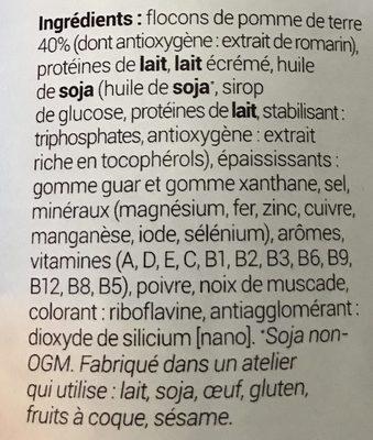 Purée De Pommes De Terre Nature - Ingrédients - fr