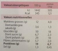 Brownie Choco Pépites Chocolat Blanc Sans Gluten - Informations nutritionnelles - fr