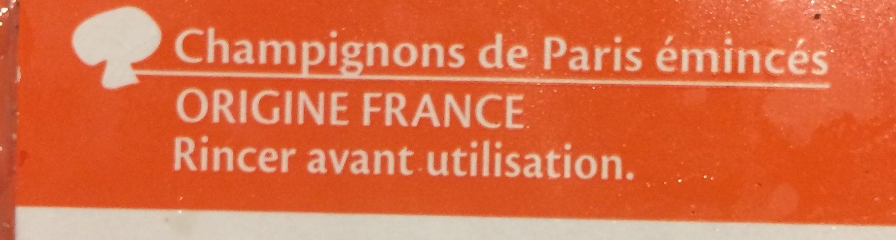 Champignons De Paris Emincés - Ingredients