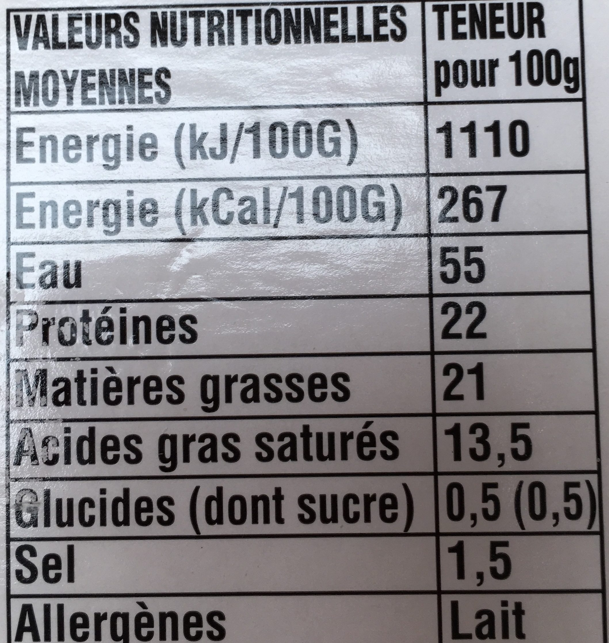 Camembert de Normandie Gavray - Nutrition facts