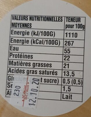 Camembert de Normandie Gavray - Nutrition facts - fr