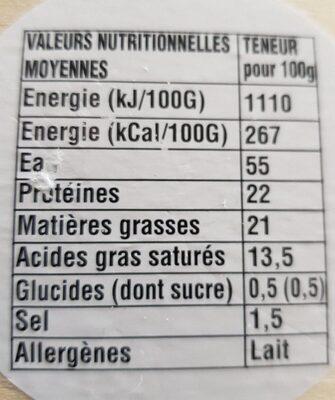 Camembert de Normandie Gavray - Voedingswaarden - fr