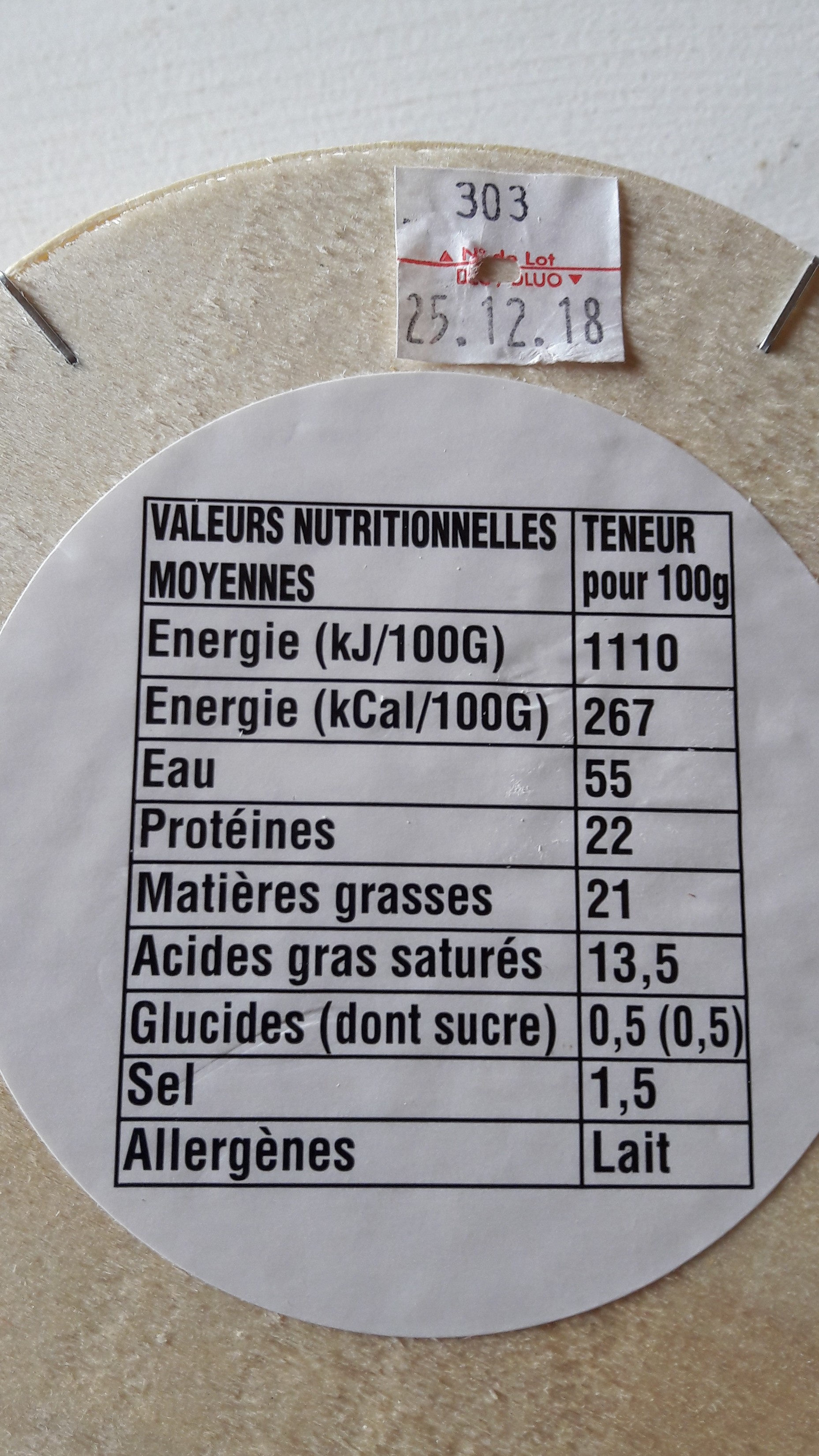 Camembert de Normandie Pre Saint Jean - Ingredients - fr