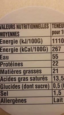 Camembert de Normandie Pre Saint Jean - Nutrition facts - fr