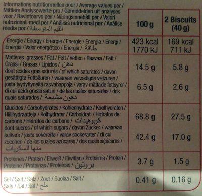 Biscuits Fourrés Fruits Rouges - Informations nutritionnelles - fr