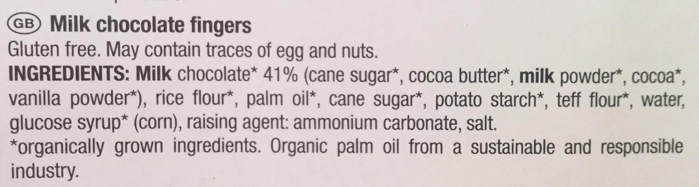 Bâtonnets chocolat au lait - Ingredients - en