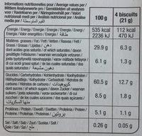 Bâtonnets chocolat au lait - Nutrition facts - fr