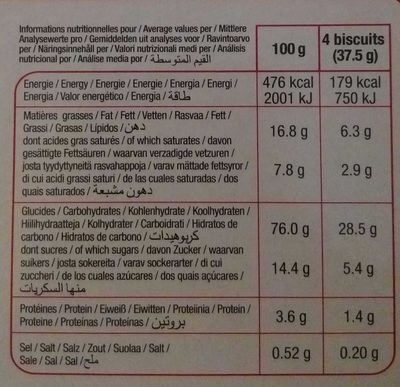 Biscuits cranberries - Informations nutritionnelles - fr